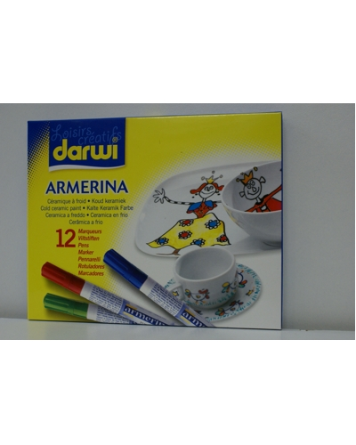 Porselein verfstift assorti 12 kleuren