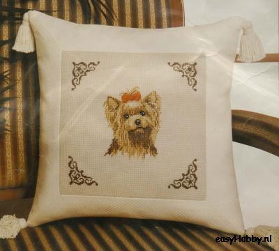 Kussen met sierkwasten, Yorkshire terrier (Home deco serie 400)