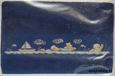 Handdoek bootjes, beren (navy)