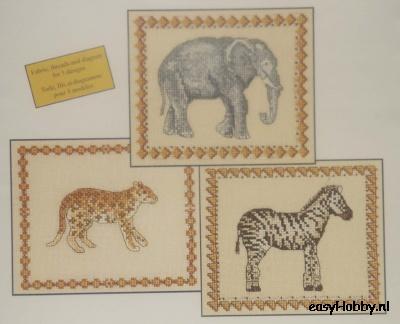 Savannah, luipaard, olifant en zebra