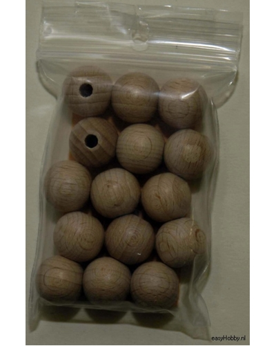 Houten Bal met gat,  15 mm /   15 - zakje