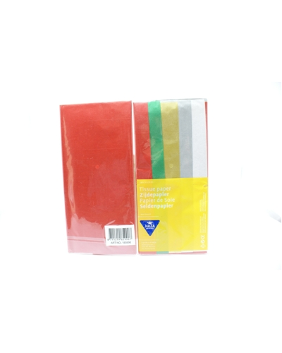 Zijdepapier ass. Rood/Groen/Goud/Zilver/Wit