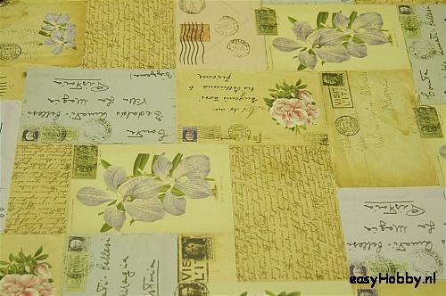 Italiaans boekbinderspapier Oude ansichtkaarten en bloemen