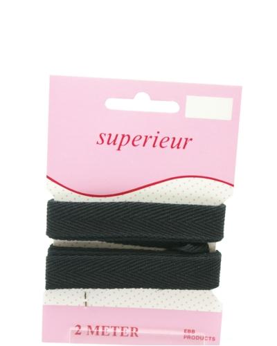 Keperband 15mm   kleur zwart
