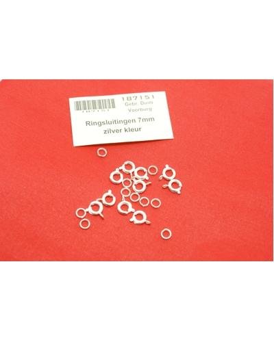Ringsluitingen met ring 7mm zilverkleurig