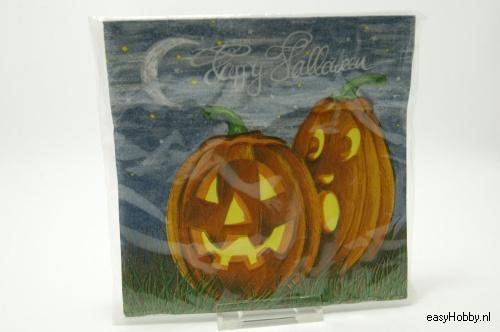 4 Servetten, Halloween pompoenen (144)