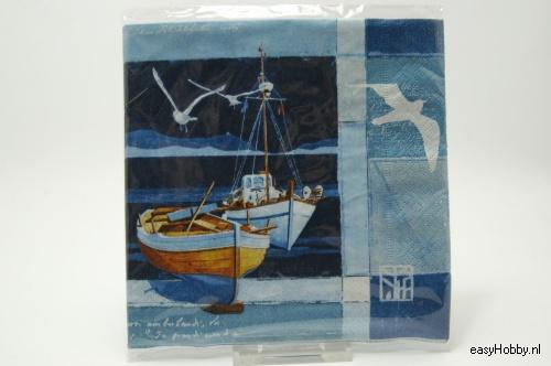 4 Servetten, Boten & zee (100)