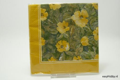 4 Servetten, Gele bloemen (139)