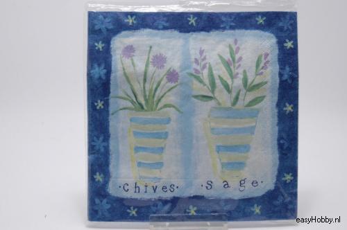 4 Servetten, Bloemen in potten (blauw) (94)