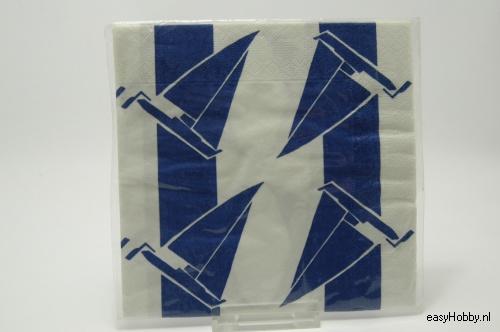4 Servetten, Zeilboten blauw-wit (242)