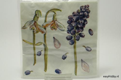 4 Servetten, Blauwe druifjes & sneeuwklokjes (87)
