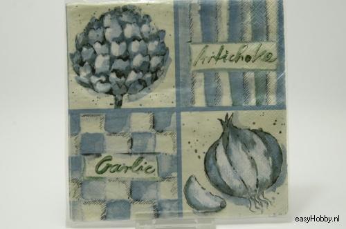4 Servetten, Artisjok & ui (blauw) (75)