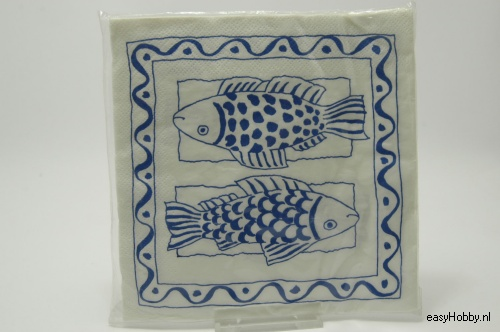 5 Servetten, Vissen delfsblauw (231)