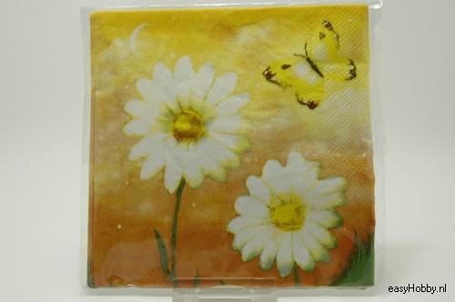 4 Servetten, Bloemen met vlinder (96)
