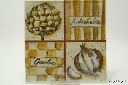 4 Servetten, Artisjok & ui (bruin) (76)