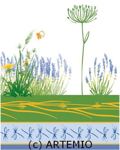 Artemio Clear stempel,  planten met o.a. lavendel