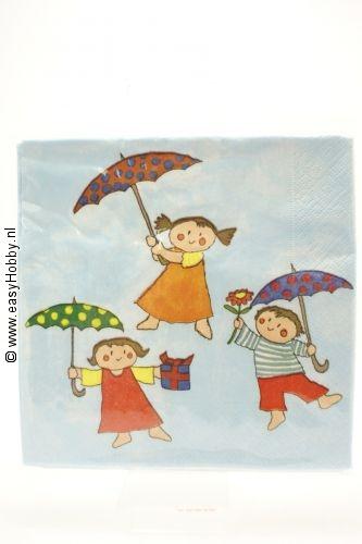4 servetten kinderen met paraplu (52)