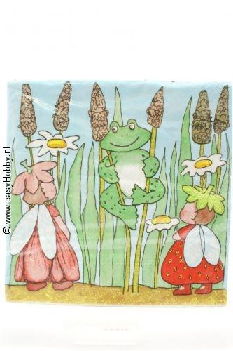 4 servetten kikker/bloemenkindjes (51)
