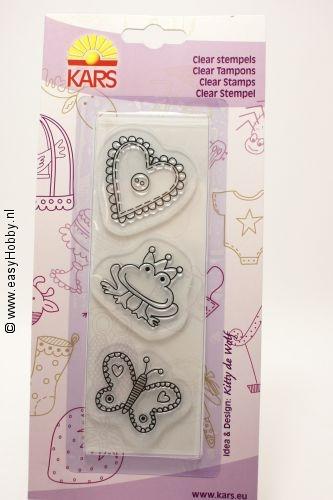 Clear stamps:  vlinder, kikker, hart