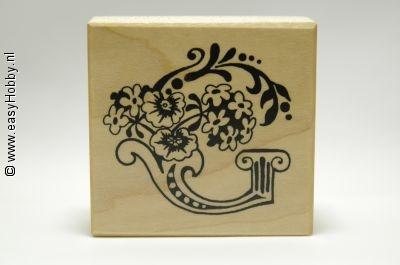 Stempel, Letter G met bloemen