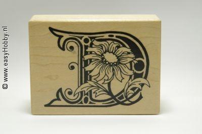 Stempel, Letter D met bloemen
