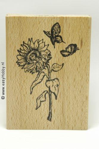 Stempel, Zonnebloem met vlinders