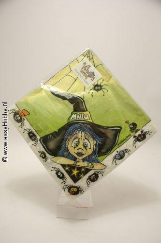 4 servetten halloween heks Milla (46)