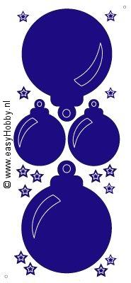 Stickervel, Kerstballen en sterren transparant (zilver) 568