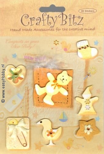 Embellishment, 3D stickers Baby (geel, DB5028)