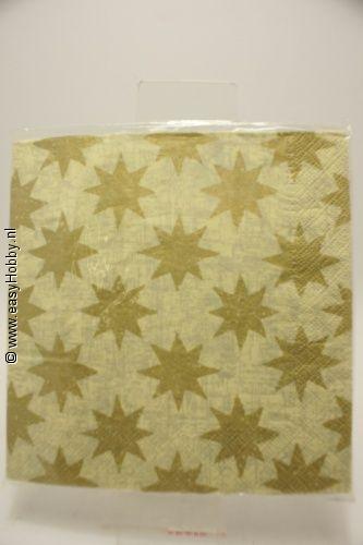 4 Kerstservetten, Gouden sterren (7)