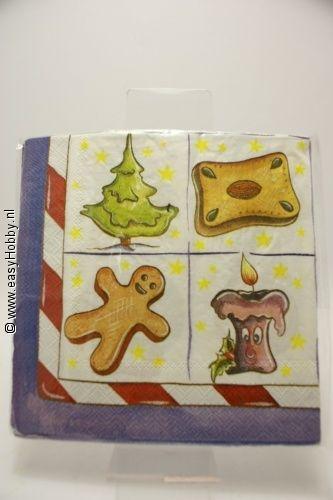4 Kerstservetten, Kerstfiguren (9)