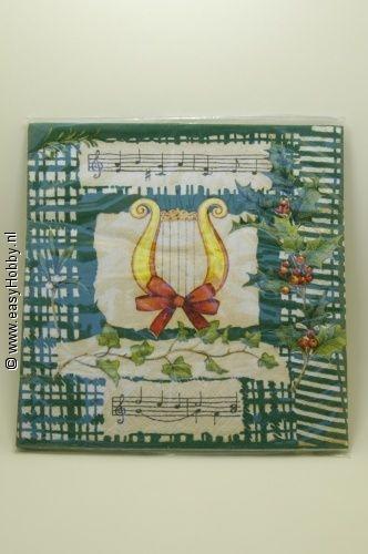 5 Kerstservetten, Muziek, harp (255)