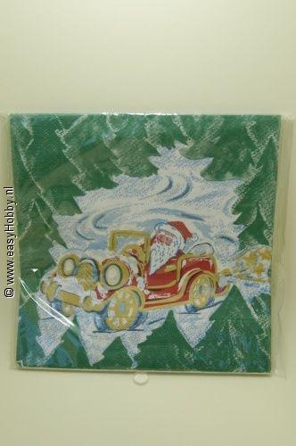 4 Kerstservetten, Kerstman en kerstbomen (264)