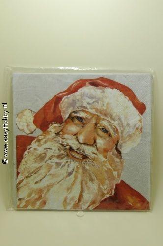4 Kerstservetten, Kerstman en hulst (267)