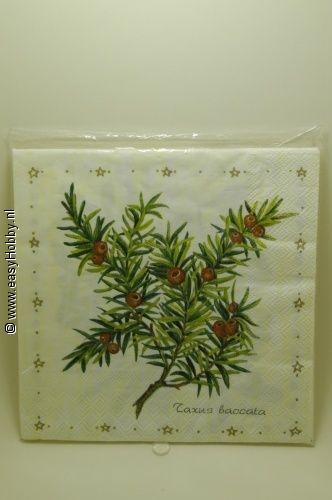 4 Kerstservetten, Taxus en Liguster (279)