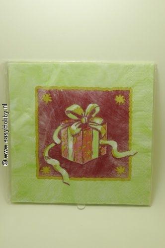 4 Kerstservetten, Kerstcadeau (286)
