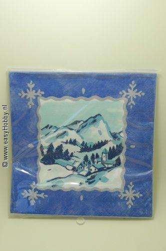 4 Kerstservetten, Sneeuwlandschap (292)