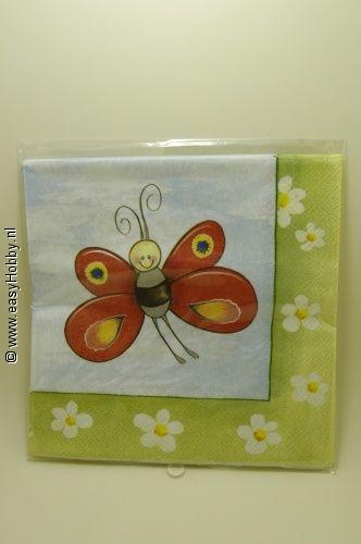 4 Servetten, Vlinders (308)
