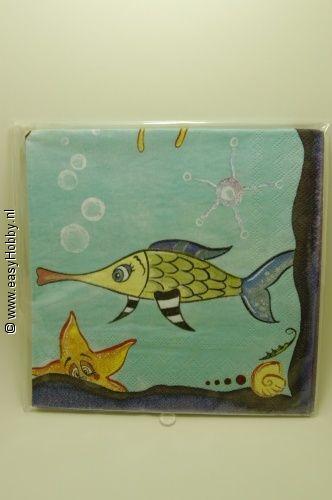 4 Servetten, Zeedieren, vissen (309)