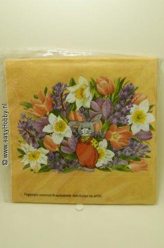 4 Servetten, Pasen bloemen en bloemenmand (317)