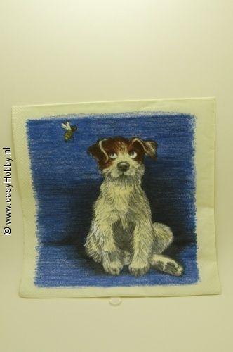 4 Servetten, Hond met bij (326)