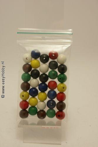 Houten kralen  12 mm ass. kleuren