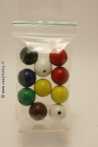 Houten kralen 20 mm ass. kleuren
