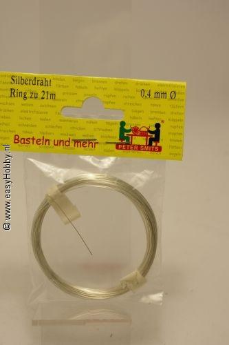 Verzilverd draad 0 ,4 mm - rol