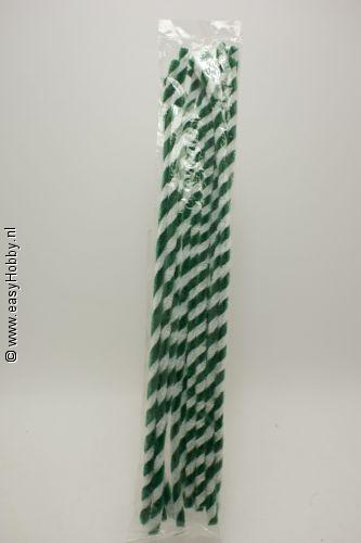 Chenilledraad/pijpenrager,  groen/ wit