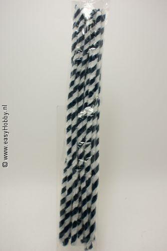 Chenilledraad/pijpenrager, blauw/ wit