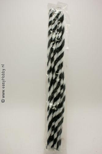 Chenilledraad/pijpenrager, zwart/ wit