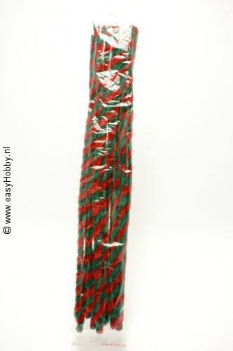 Chenilledraad/pijpenrager, rood/ groen