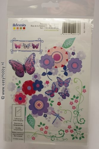 Artemio Clear stempel vlinders en bloemen.