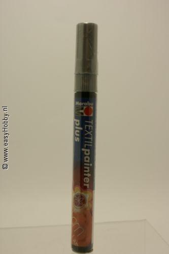 Textielverfstift plus, Marabu,  zilver (782)